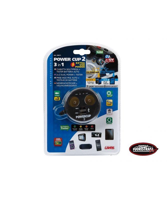 Multipresa con USB e tester batteria 12V