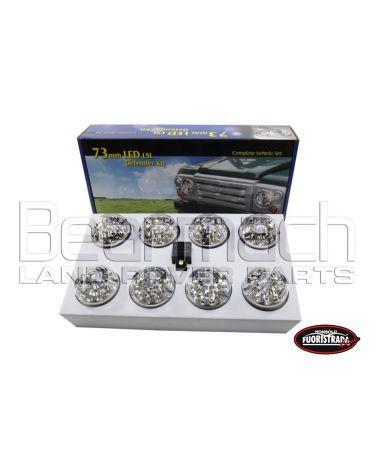 KIT 8 Luci a Led Per Land Rover Defender Con Vetro Trasparente